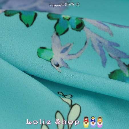Microfibre Élasthanne Imprimé Motif Printanier Fond Turquoise