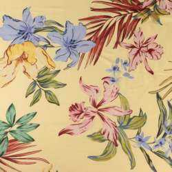 Voile De Viscose Imprimé Motifs Feuillage Exotique Et fleurs