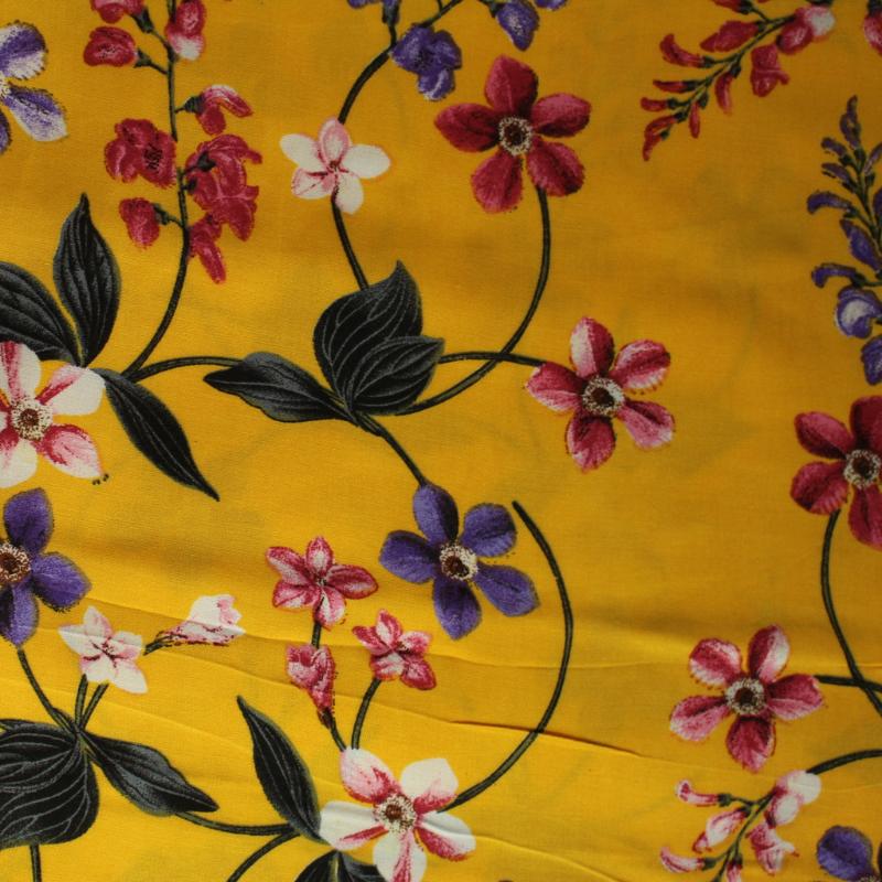 Viscose Floral  Sur  Fond Jaune