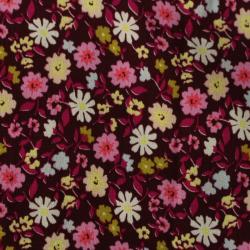 Viscose Floral Sur Fond bordeaux