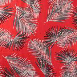 Viscose Fond Rouge Motif plumes