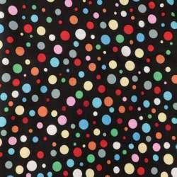 Viscose Fond Noir Motif Pois Multicolore