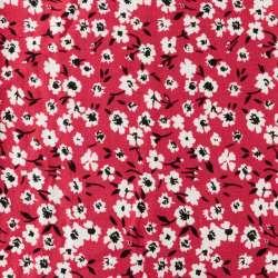 Viscose Fond framboise Motif fleurs des champs