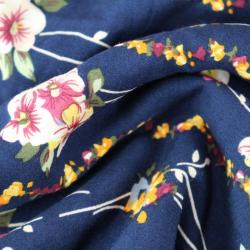 Viscose Fond Bleu Marine Imprimé motifs Floral