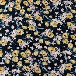 viscose bleu marine à motif petites roses