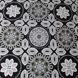 Tissu viscose fond noir à motif géométrique