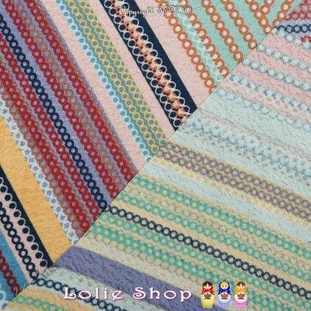 Crêpe Imprimé Motif Effet PatchWork Lignes Colorées