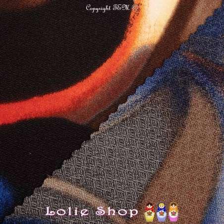 Jersey Crêpé BETHINA Imprimé Ton Bleu Fond Noir