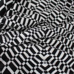 Tissus Plissé Imprimé Motif  graphiques  Noir Blanc