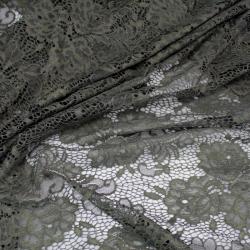 Tissu dentelle Fleurie Sur Fon Vert