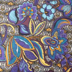 TISSUS Scuba Crêpe Imprimé Fleurs Couleur Violet