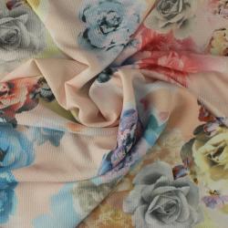 Crêpe Polyester Imprimé Fleurs Fond Nude