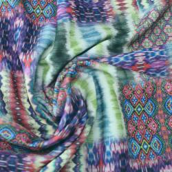 Scuba Crêpe Motif géométriques multicolores