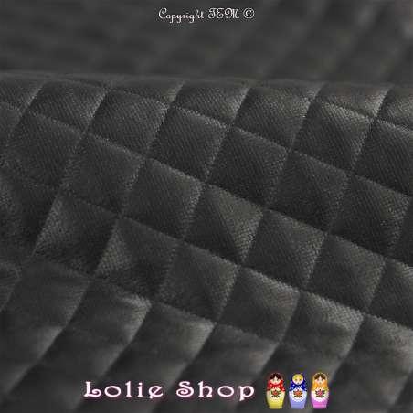 Tissu Simili-Cuir Matelassé Couleur Noir