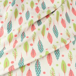 Jersey Coton  Imprimé Plumes Vert Et Rouge