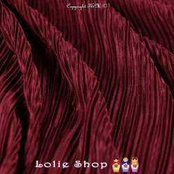 Satin Plissé Uni Couleur Bordeaux