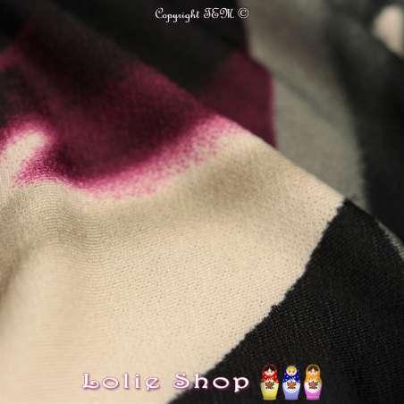 Jersey Crêpé BETHINA Imprimé Ton Violet Fond Noir