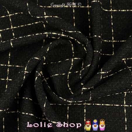 Tweed Polyviscose Quadrillée Noire et Or