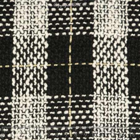 Tweed Polyviscose Quadrillée Noire Blanche et Or