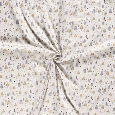 Tissu de Noël Sapins Ton Blanc