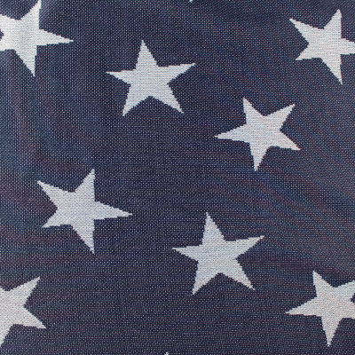 Tissu Bleu Motif Etoiles Blanc