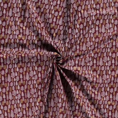 Tissus De Noel imprimé de sapins dorés et blancs sur fond bordeaux