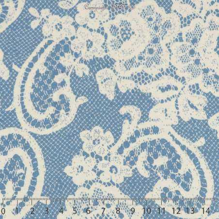 Jersey Viscose Imprimé Modèle CORALIE Ton Bleu