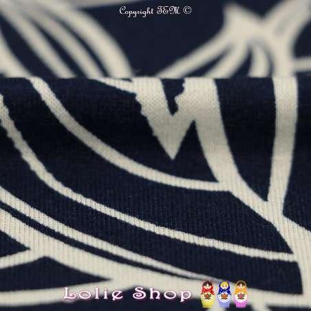 Jersey Viscose Imprimé Modèle DELANO Ton Blanc & Bleu