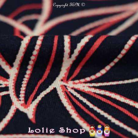 Jersey Viscose Imprimé Modèle DELANO Ton Rouge & Bleu