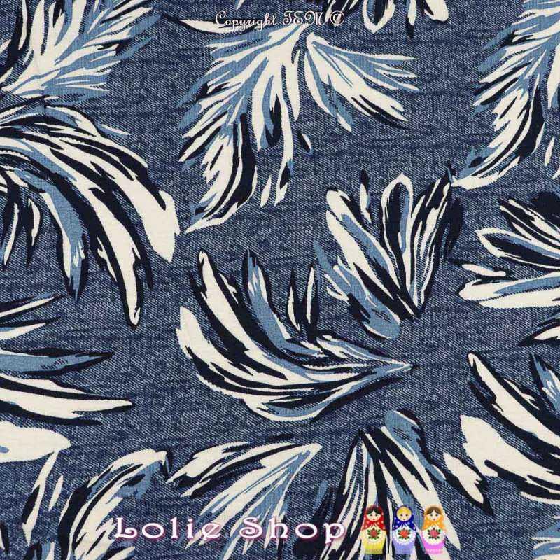 Jersey Viscose Imprimé Modèle BALAGAN Ton Bleu