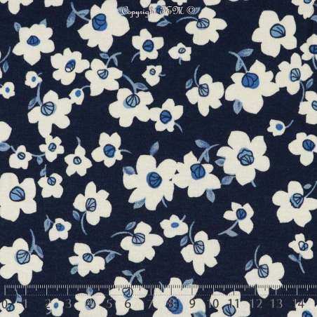 Jersey Viscose Imprimé Modèle ALINA Fond Bleu - Photo 15x15 Cm