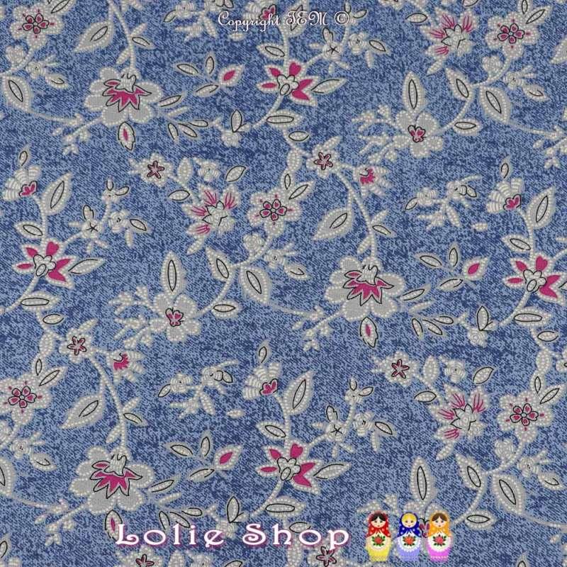 Jersey Viscose Imprimé Modèle VESNA Ton Bleu