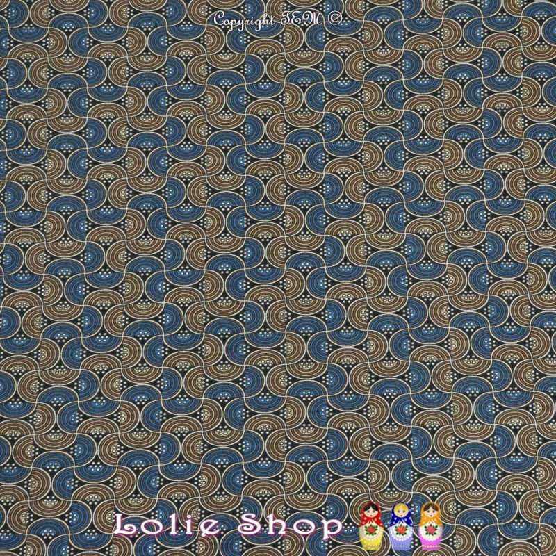 Jersey Gratté LEO Imprimé Motif Ondulé Ton Bleu