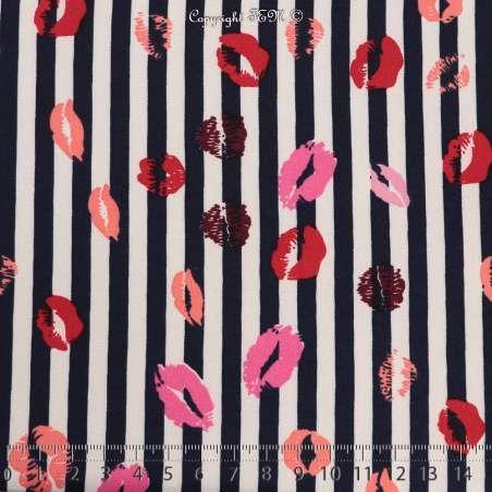 Microfibre Élasthanne Imprimé Motif Rayures Marine et Rouge à Lèvres Lipstick - Photo 15x15 Cm