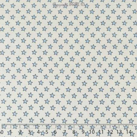 Coton Imprimé Petites Étoiles Bleu Ciel Fond Blanc - Photo 15x15 Cm