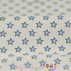 Coton Imprimé Petites Étoiles Bleu Ciel Fond Blanc