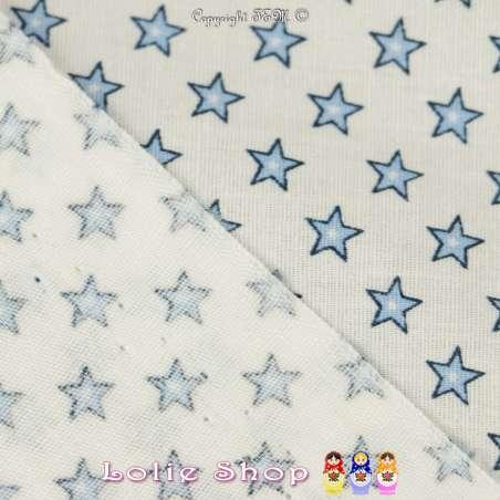 Coton Imprimé Petites Étoiles Bleu Ciel Fond Blanc - Envers