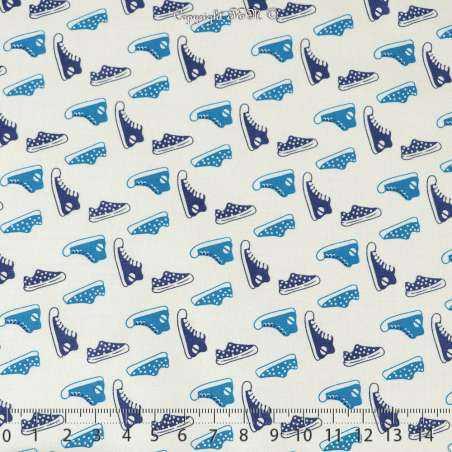 Coton Imprimé Petites Basket Ton Bleu Fond Blanc - Photo 15x15 Cm