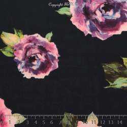 Microfibre Élasthanne Imprimé à Base Fleur Ton Roses Fond Marine