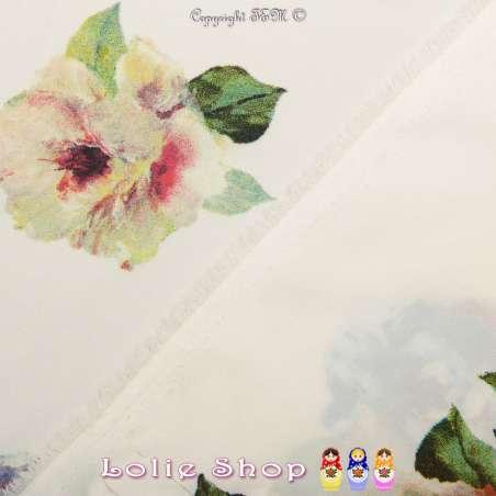 Microfibre Élasthanne Imprimé à Base Fleurs Ton Pastel Fond Écru