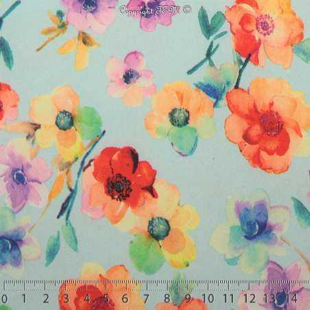 Microfibre Élasthanne Imprimé Fleurs Couleurs Pastels Fond Azurin