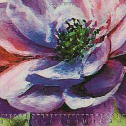 Microfibre Élasthanne Imprimé à Base Grandes Fleurs Ton Violet Fond Rose Poudré