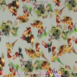 Microfibre Élasthanne Imprimé Fruits & Oiseaux
