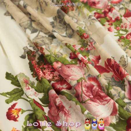 Microfibre Élasthanne Imprimé Bouquet Fleurs Printanier Ton Bordeaux Fond Écru