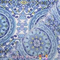 Microfibre Élasthanne Imprimé Motif Cercle Ton Bleu