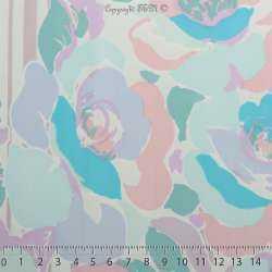 Microfibre Élasthanne Imprimé Motif Fleurs & Rayures Ton Pastel Fond Écru - Photo 15x15 Cm