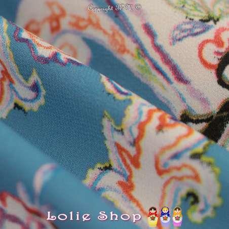Microfibre Élasthanne Imprimé Motif Paisley Ton Orange & Violet Fond Bleu