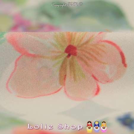 Microfibre Élasthanne Imprimé Motif Petites Fleurs Ton Pastel Fond Écru