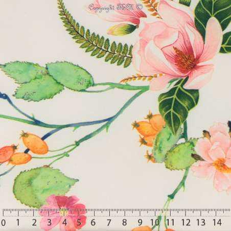 Microfibre Élasthanne Imprimé Motif Végétal Fleurs Ton Rose Fond Claire - Photo 15x15 Cm