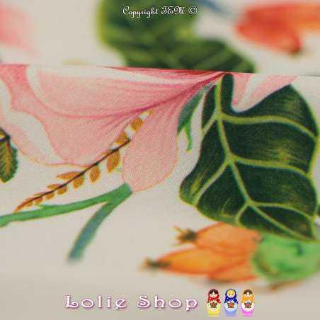 Microfibre Élasthanne Imprimé Motif Végétal Fleurs Ton Rose Fond Claire